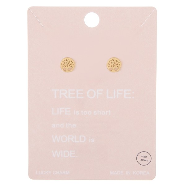 Gold dipped dainty Tree of Life filigree stud earrings.  - Approximately 5mm in diameter