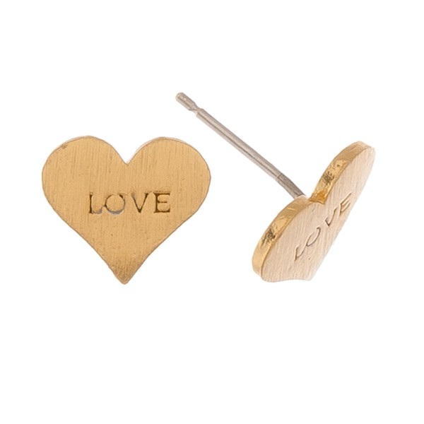 Gold dipped Love stamped heart stud earrings.  - Matte finish - Approximately 1cm