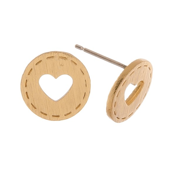 Gold dipped heart cut out stud earrings.  - Approximately 1cm in diameter