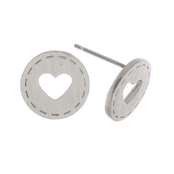 White Gold dipped heart cut out stud earrings.  - Approximately 1cm in diameter