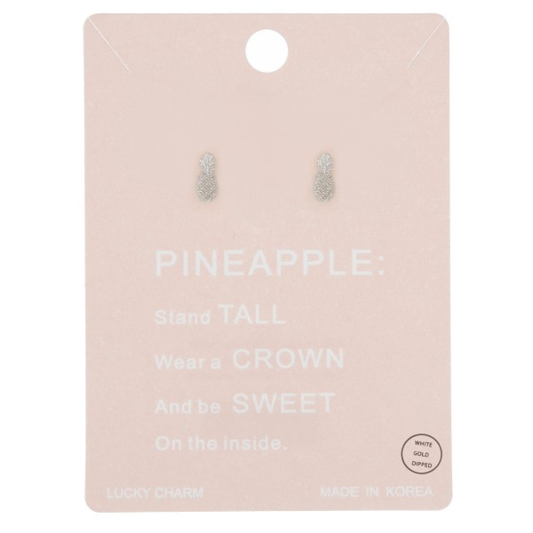 White Gold dipped dainty pineapple stud earrings.  - Approximately 7mm