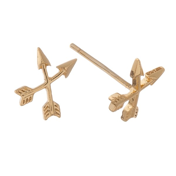 Gold dipped dainty crossed arrow stud earrings.  - Approximately 1cm in size