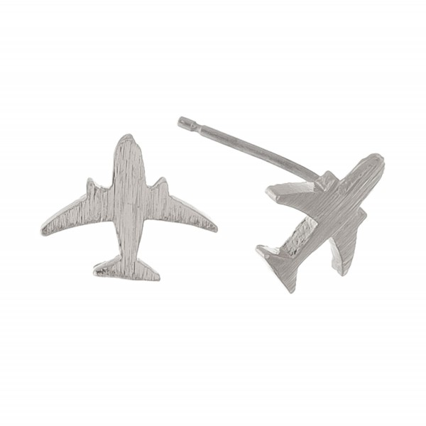 White Gold dipped dainty airplane stud earrings.  - Approximately 1cm