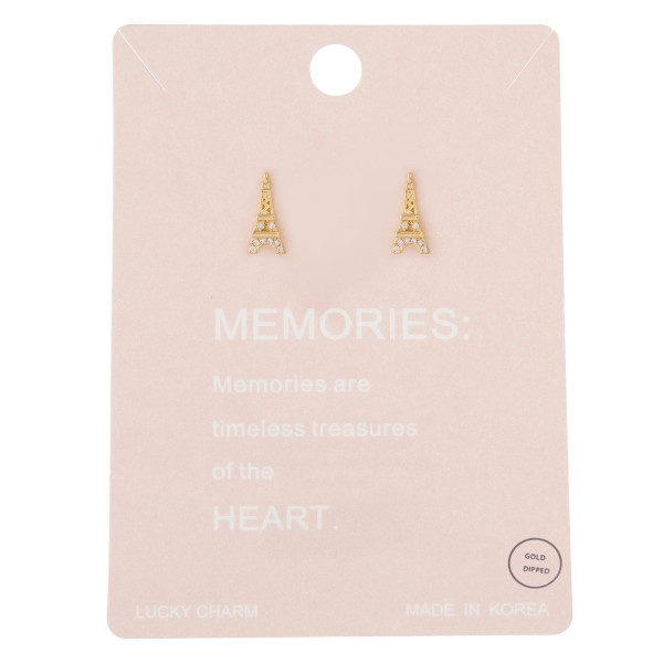 """Gold dipped rhinestone Eiffel Tower stud earrings.  - Approximately .5"""""""