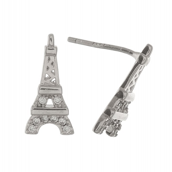 """White Gold dipped rhinestone Eiffel Tower stud earrings.  - Approximately .5"""""""
