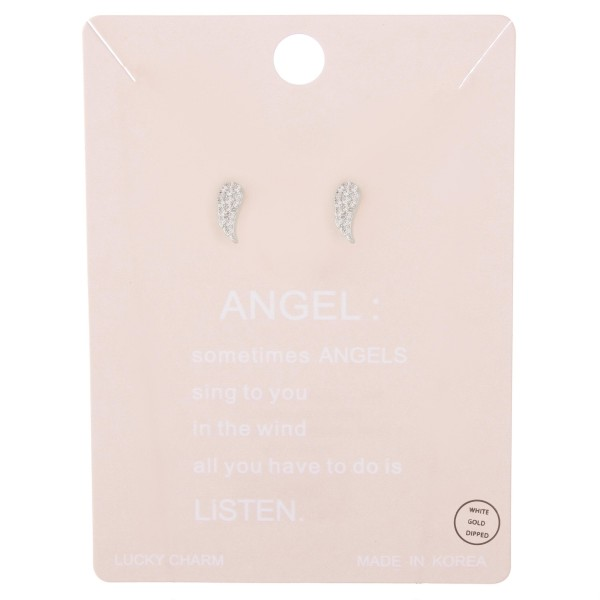 White Gold dipped dainty rhinestone angel wing stud earrings.  - Approximately 1cm L