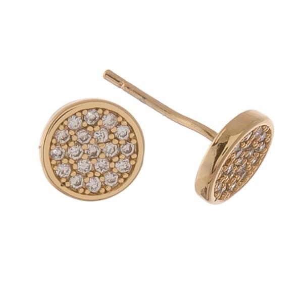 Gold dipped dainty rhinestone disc stud earrings.  - Approximately 5mm in diameter