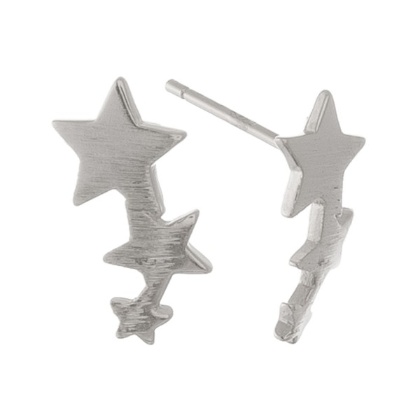 """White Gold dipped dainty star ear climber stud earrings.  - Approximately .5"""" L"""