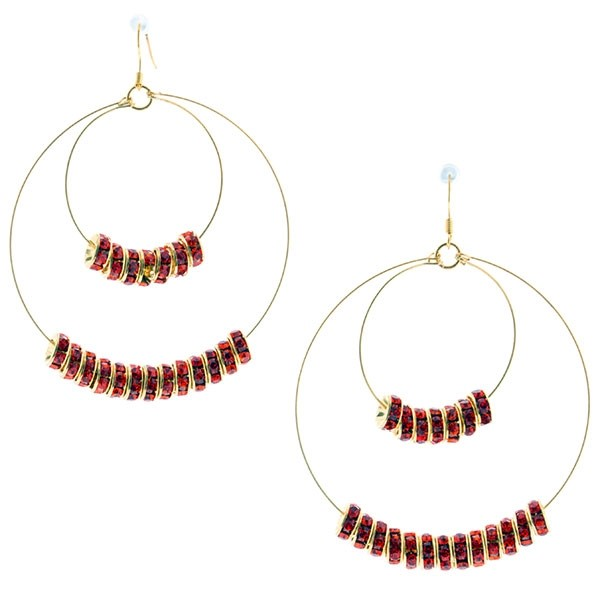 """3 1/4"""" Gold tone fishhook style earrings featuring a double wire hoop accented by orange crystal rhinestone rondelles."""