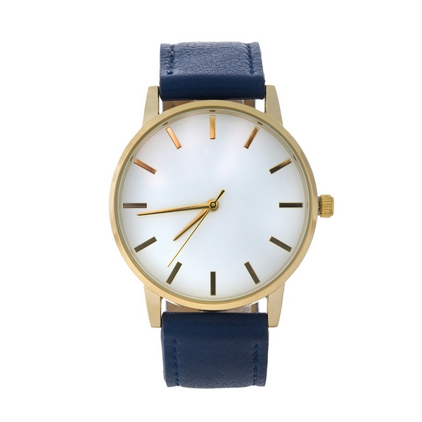 Navy blue faux leather watch featuring a white face and gold tone hardware.