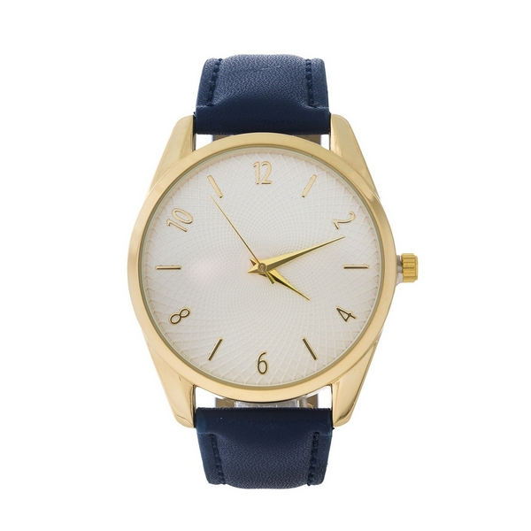 Navy blue faux leather watch featuring gold tone hardware and a textured face.
