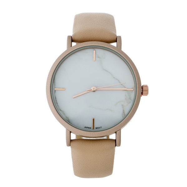 Blush faux leather band watch with a marbled face.