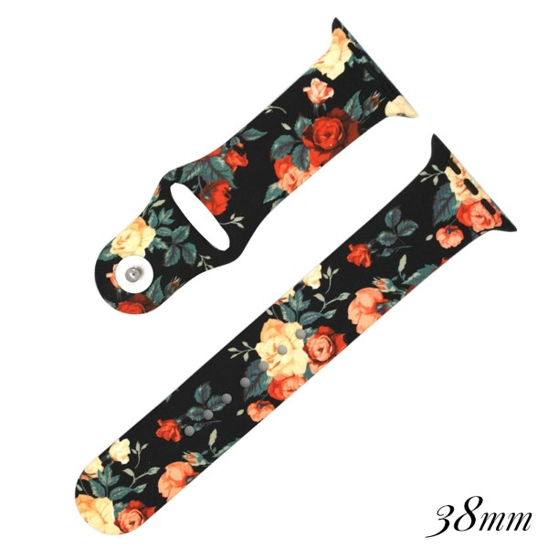 Floral print silicone watch band for smart watches. Fits the 38mm size smart watch.