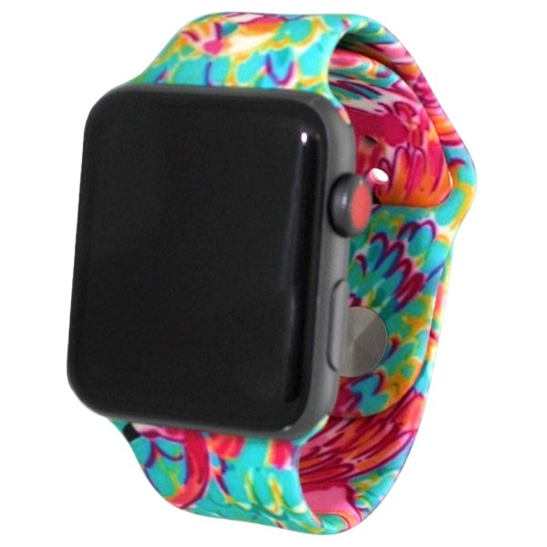 Tropical print silicone watch band for smart watches. Fits the 38mm size smart watch.