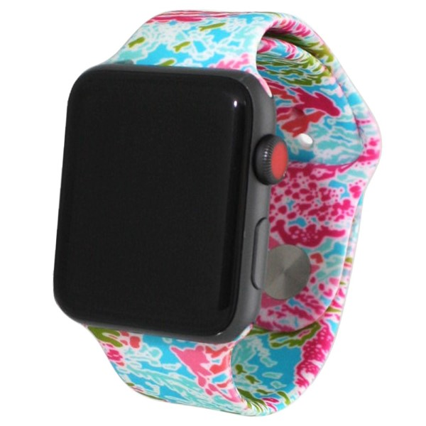 Tropical print silicone watch band for smart watches.