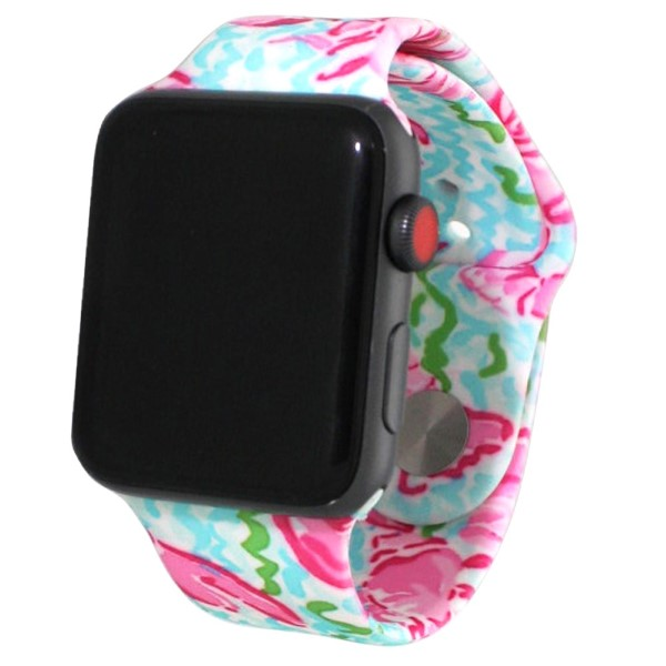 Sea life print silicone watch band for smart watches. Fits the 38mm size smart watch.