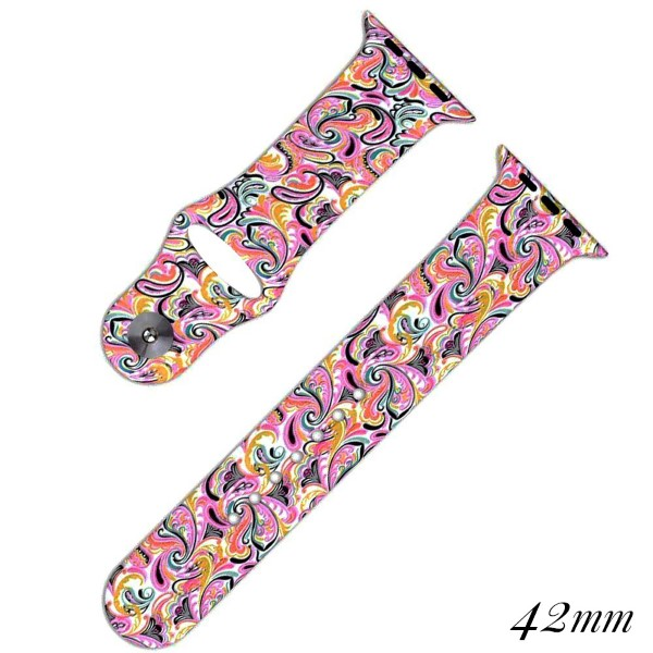 Paisley print silicone watch band for smart watches. Fits the 42mm size smart watch.