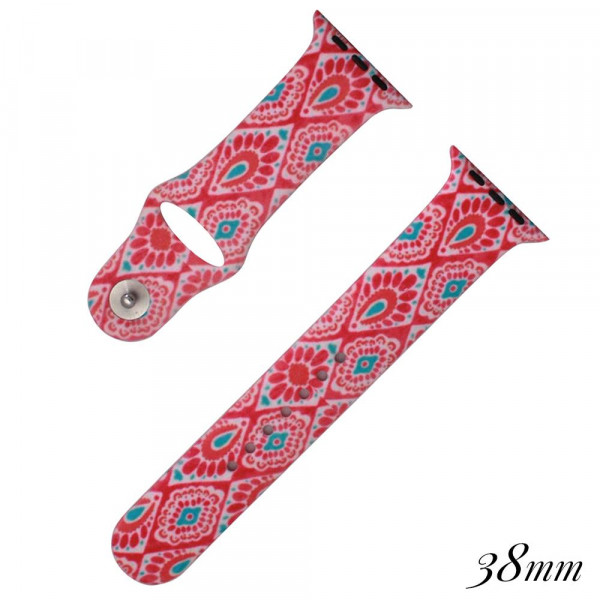 Pink paisley print silicone watch band for smart watches. Fits the 38mm size smart watch.