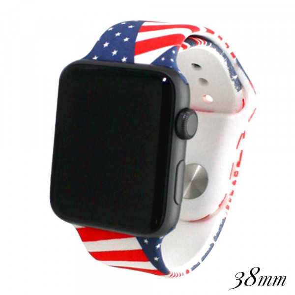 """American flag print silicone watch band for smart watches. Fits the 38mm size smart watch. WATCH NOT INCLUDED. Fits Apple watch. Approximate 4"""" in length."""