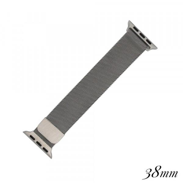 """Silver metal magnetic watch band for smart watches. Fits the 38mm size smart watch. Fits apple watch. Approximate 4"""" in length."""