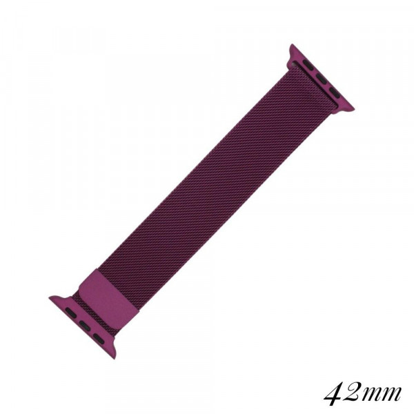 """Purple metal magnetic watch band for smart watches. Fits the 42mm size smart watch. Fits apple watch Approximate 5 1/2"""" in length."""