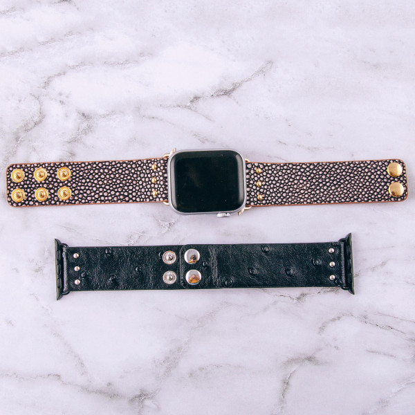 """Black interchangeable faux leather watch band for smart watches. WATCH NOT INCLUDED. Approximately 9.75"""" in length.  - 38mm - Adjustable closure"""