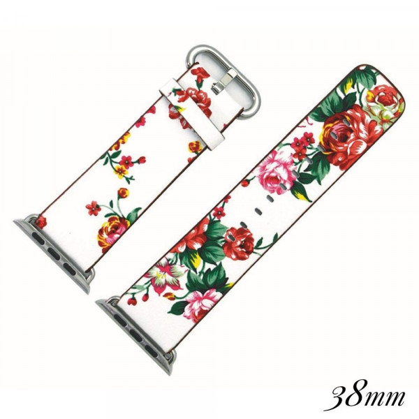 "Faux leather watch band for smart watches featuring a white floral print. Approximately 9.75"" in length.   - 38mm - Adjustable closure"