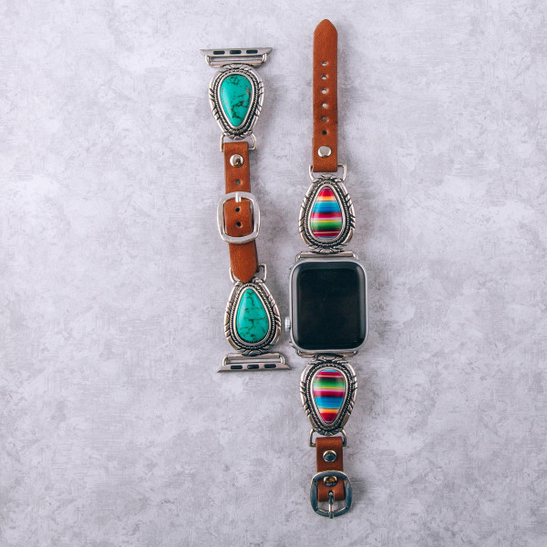 "Interchangeable faux leather watch band for smart watches featuring multicolor natural stone details. WATCH NOT INCLUDED. Approximately 9.75"" in length.  - 38mm - Adjustable closure"