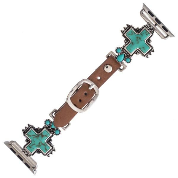 "Interchangeable faux leather watch band for smart watches featuring a natural stone inspired cross detail. WATCH NOT INCLUDED. Approximately 9.75"" in length.  - 38mm - Adjustable closure"
