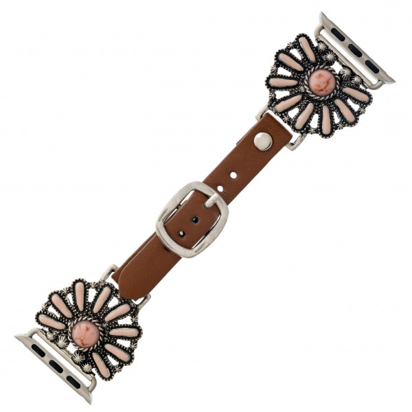"Interchangeable faux leather watch band for smart watches featuring natural stone flower inspired details. WATCH NOT INCLUDED. Approximately 9.75"" in length.  - 38mm - Adjustable closure"