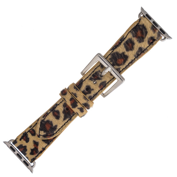 "Interchangeable fur faux leather leopard print watch band for smart watches. WATCH NOT INCLUDED. Approximately 8.5"" in length.  - 38mm - Adjustable closure"