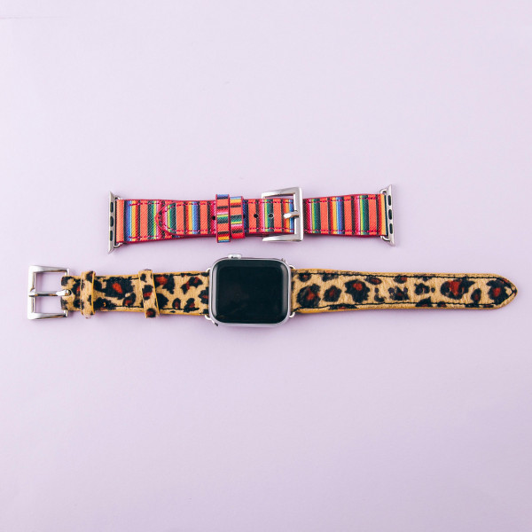 "Interchangeable faux leather multicolor striped watch band for smart watches. WATCH NOT INCLUDED. Approximately 8.5"" in length.  - 38mm - Adjustable closure"