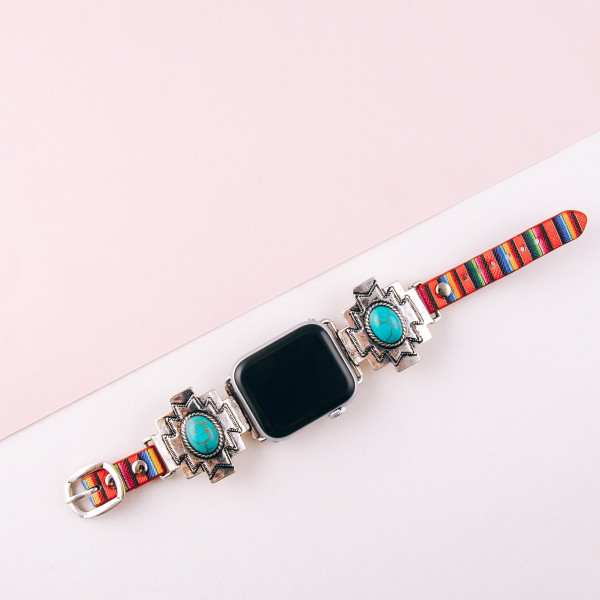 "Interchangeable multicolor faux leather watch band for smart watches featuring a western detail with a natural stone accent. WATCH NOT INCLUDED. Approximately 9.75"" in length.  - 38mm - Adjustable closure"