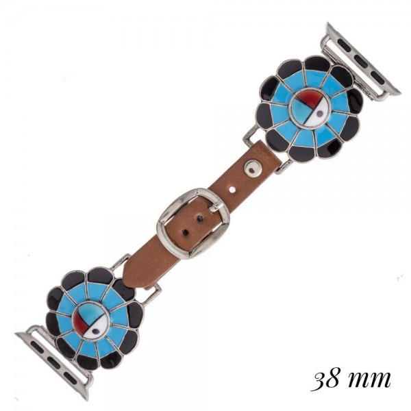 "Interchangeable faux leather watch band for smart watches featuring a multicolor enamel inspired detail. WATCH NOT INCLUDED. Approximately 9.75"" in length.  - 38mm - Adjustable closure"