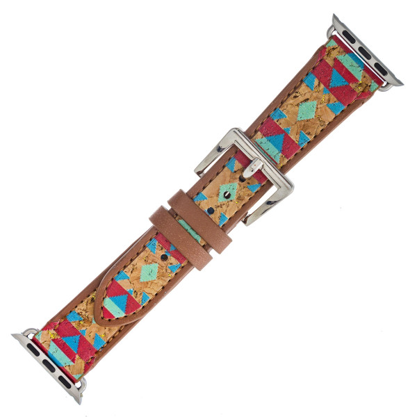 """Interchangeable faux leather western style smart watch band for smart watches only with cork inspired details. WATCH NOT INCLUDED. Approximately 9.75"""" in length.  - 38mm - Adjustable closure"""
