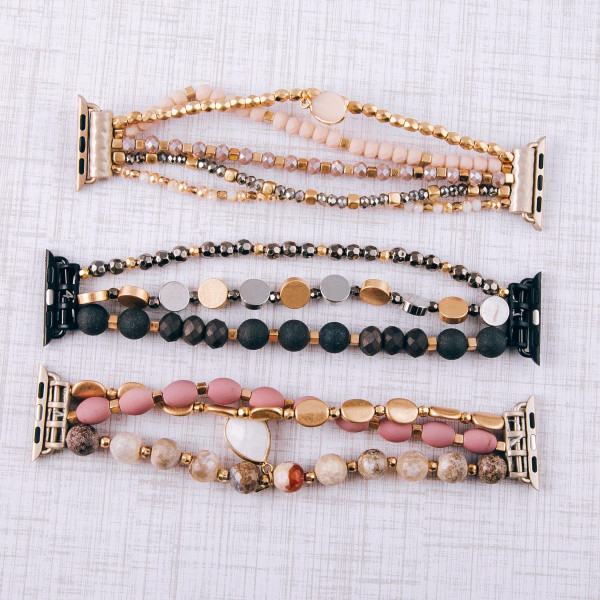 """Interchangeable beaded stretch watch band for smart watches featuring acrylic, faceted and metal inspired bead details. WATCH NOT INCLUDED. Approximately 9.5"""" in length.  - 38mm - Adjustable closure"""