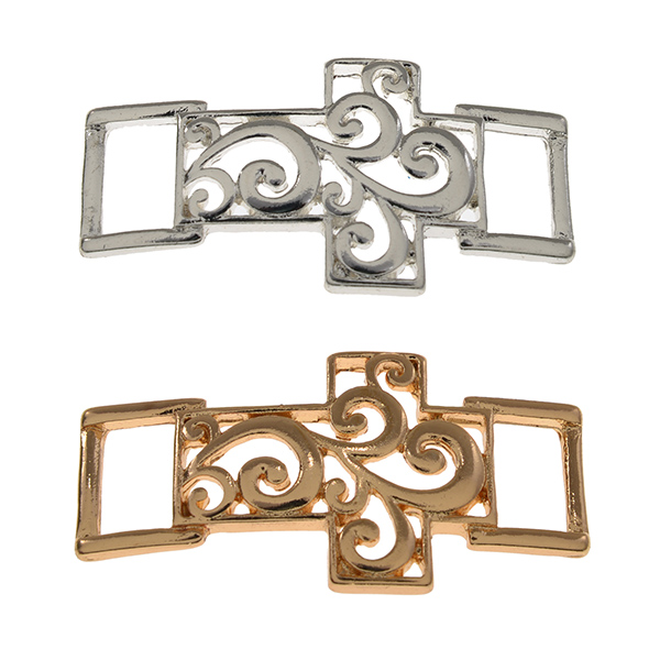 Gold and silver tone filigree horizontal east-west crosses that attach to our black leather removable initial bracelets.