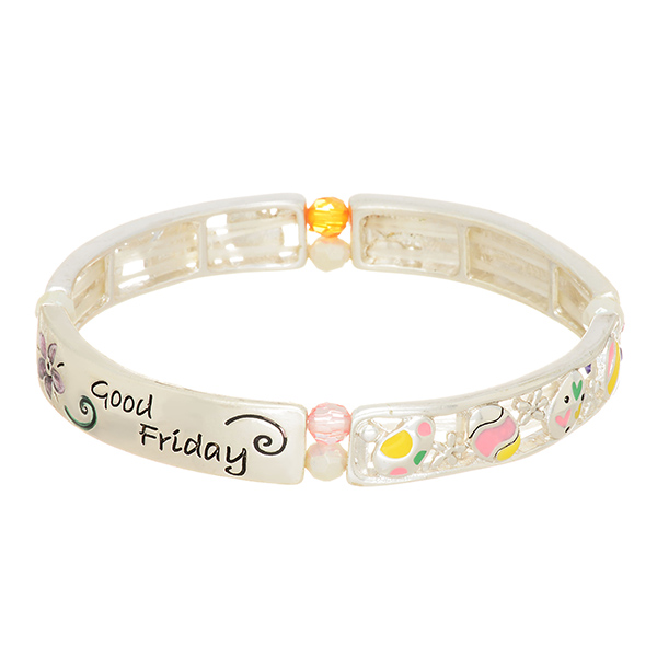 "Silver tone stretch bracelet featuring multicolored beads and Easter eggs stamped ""Happy Easter"" and ""Good Friday""."