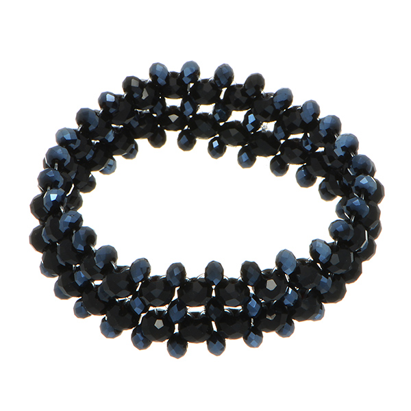 Stretch bracelet featuring black and navy blue  beads.