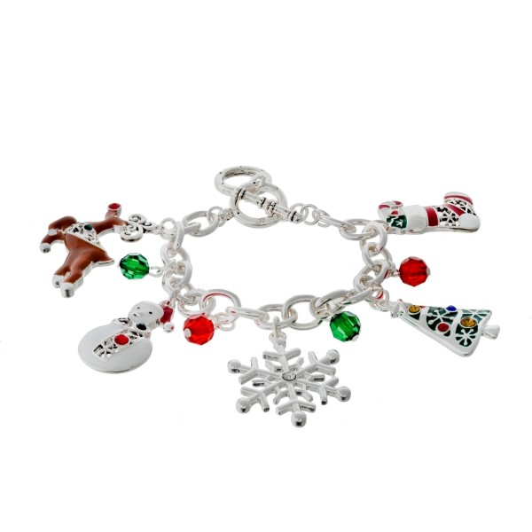 Silver tone toggle bracelet with Christmas themed charms.