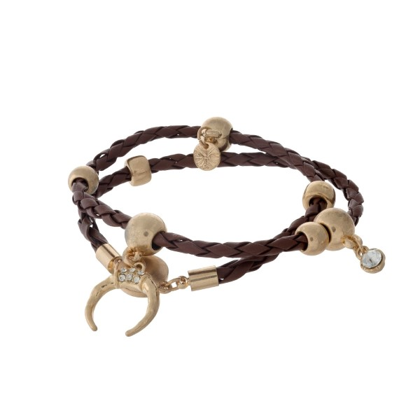 Brown braided cord wrap bracelet with gold tone hardware.