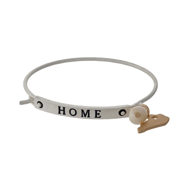 "Silver tone bangle bracelet stamped with ""HOME"" and displaying the state of Kentucky charm."
