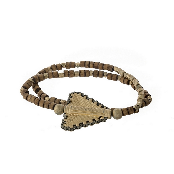 Brown wooden and gold tone beaded stretch bracelet with an arrow focal.