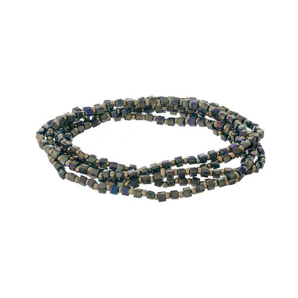 Teal beaded stretch bracelet set.