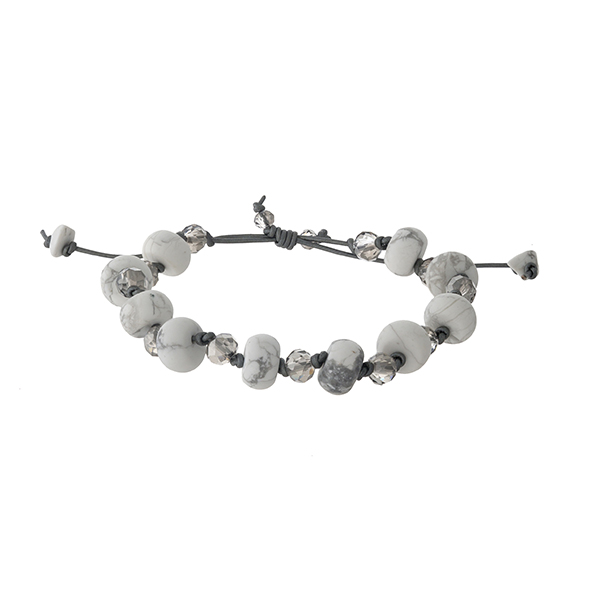 Adjustable waxed cord bracelet with howlite, natural stone beads. Handmade in the USA.