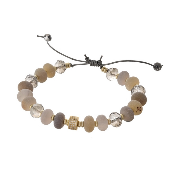 Gray waxed cord adjustable bracelet with botswana natural stone beads and gray faceted beads. Handmade in the USA.