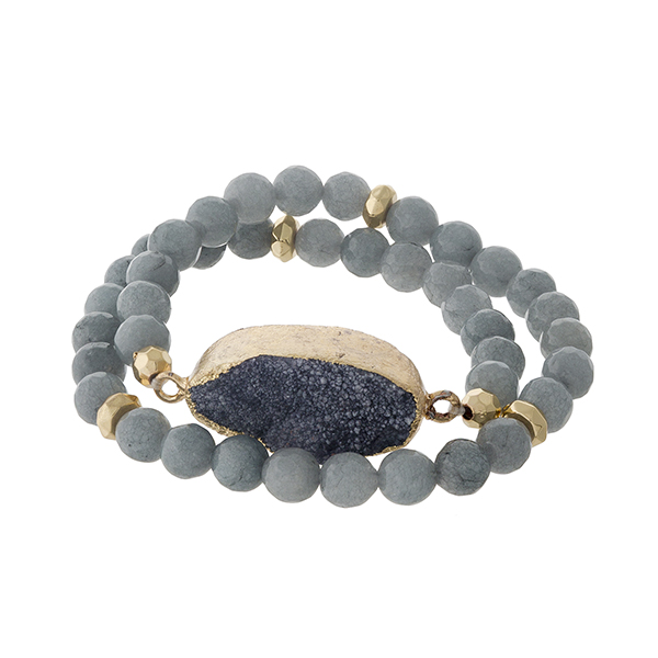 Wholesale gray natural stone beaded wrap bracelet gold accents gray druzy stone