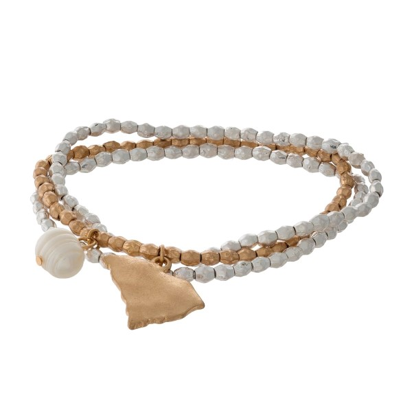 Two tone stretch bracelet with a state of South Carolina and freshwater pearl bead charm.