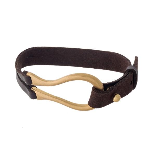 Wholesale brown leather gold bracelet button closure