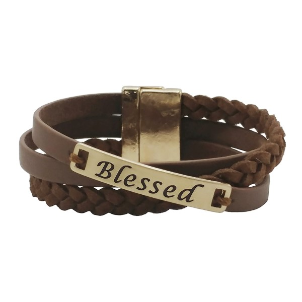 "Brown faux leather magnetic wrap bracelet with a gold tone bar stamped with ""Blessed."""